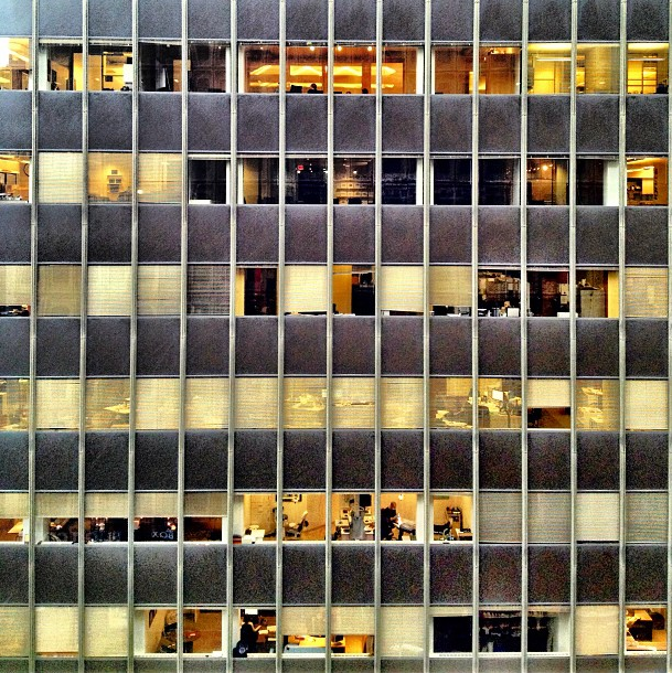 Check out all the people working away in their little cubes.