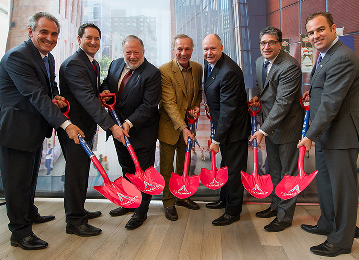 Daniel Peritz, Mayor Applebaum, Jonathan Wener, Guy LaFleur, Yvoc Bolduc, Salvatore Iacono, and Geoff Molson  celebrate the groundbreaking.