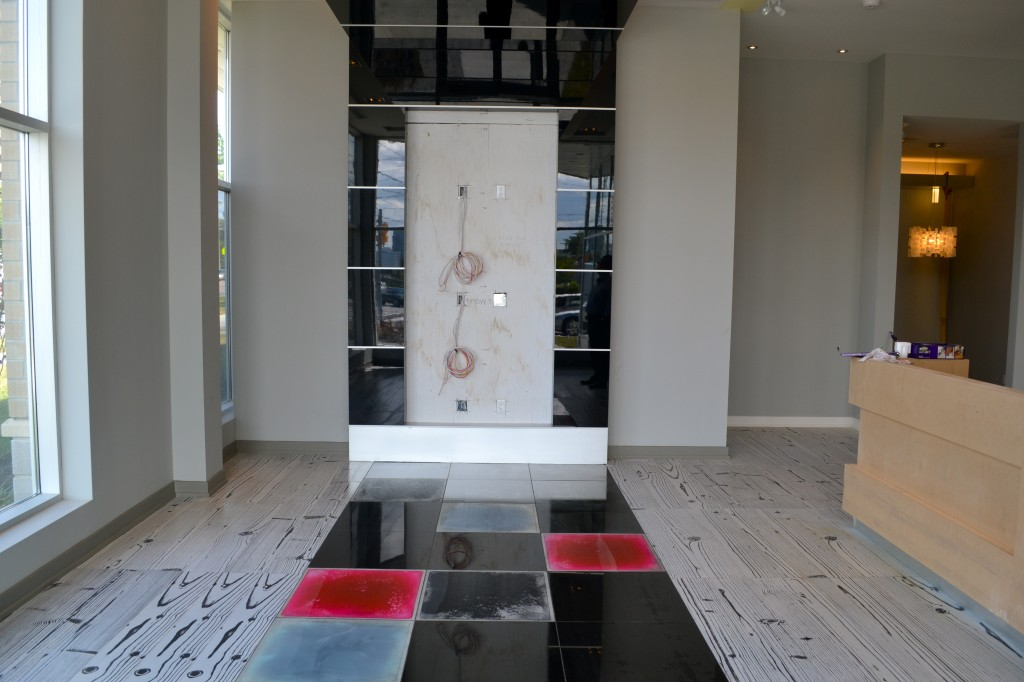 A must-see at the sales centre are these liquid motion colour tiles that are very cool, and a lot of fun to step on.