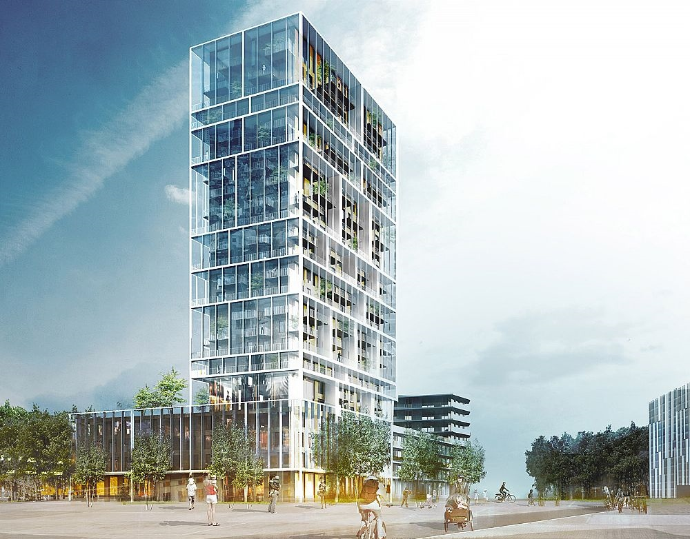 This mixed use tower in belgium will help you make friends for Residential architecture design