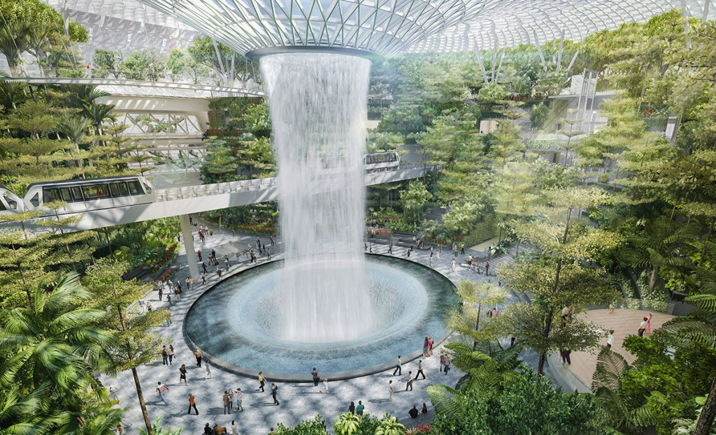 world s tallest indoor waterfall to be built in singapore
