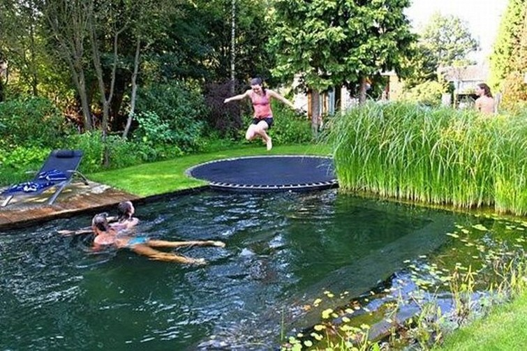Trampoline and pond pool