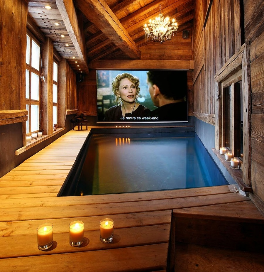 indoor pool and home theater