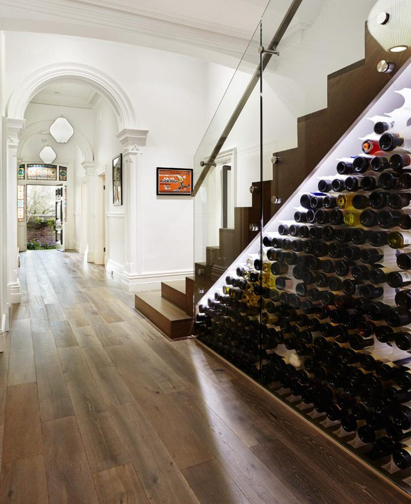 wine rack under stairs