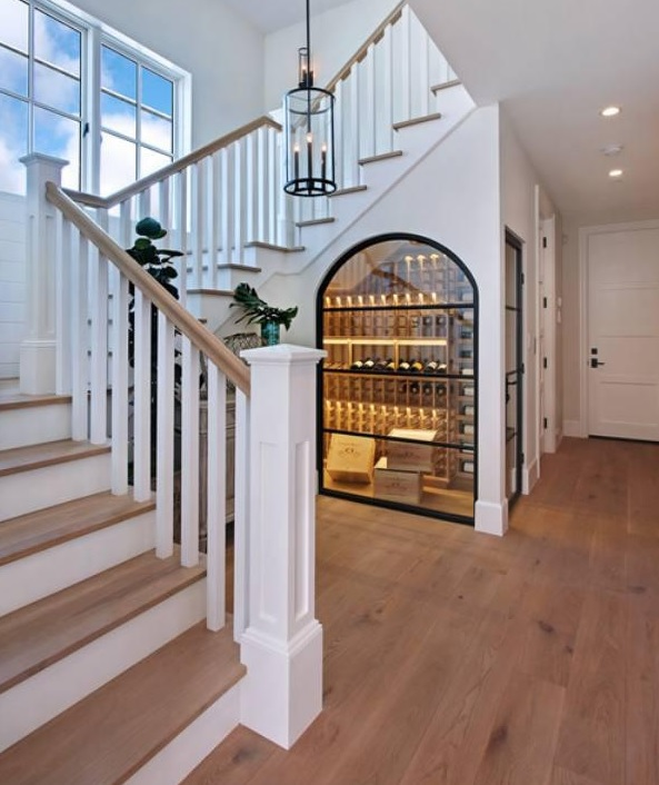 wine room under stairs