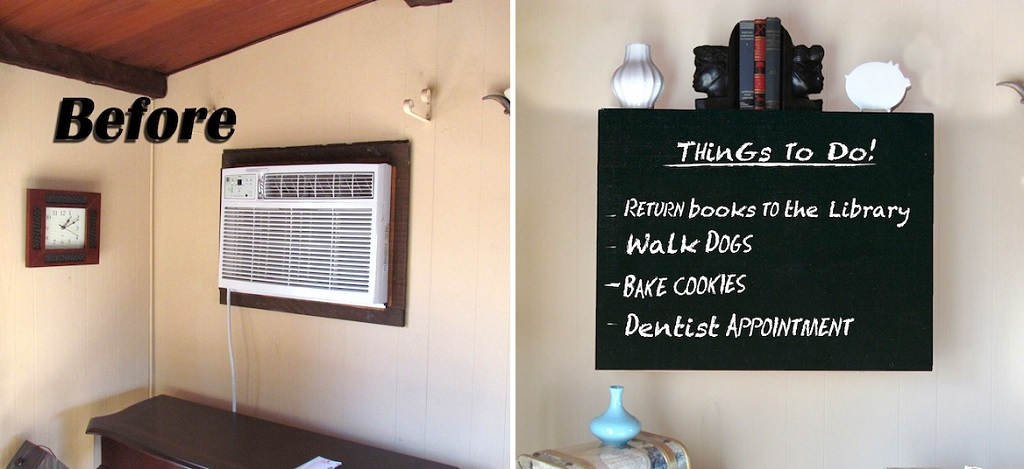 AC unit chalkboard 21 insanely clever ways to hide eyesores in your home decorative fuse box covers for home at creativeand.co