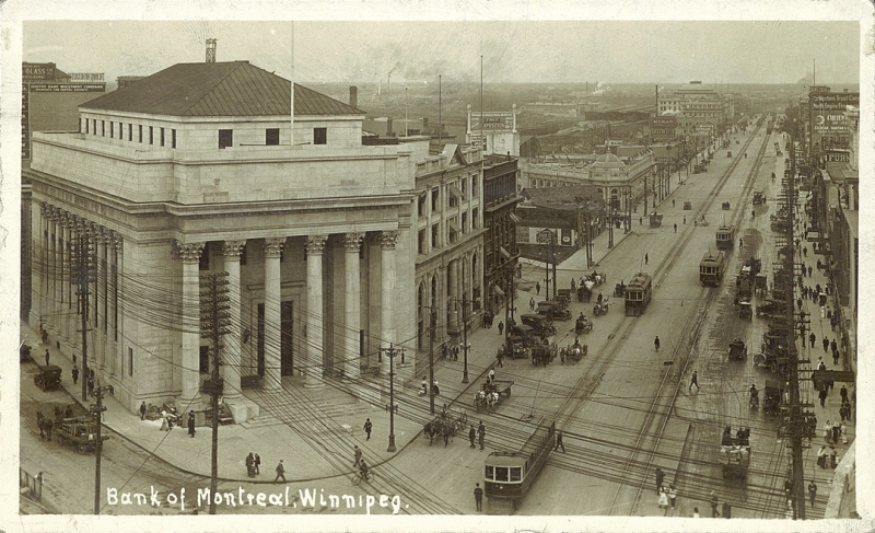 Looking southwest at the corner of main street and portage avenue ca