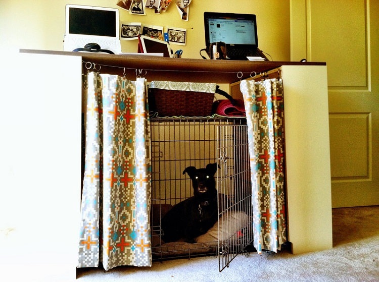dog crate curtains insanely clever ways to hide eyesores in your home how to hide fuse box at edmiracle.co