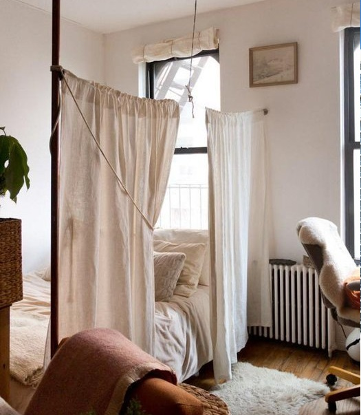 tiny apartment curtain divider