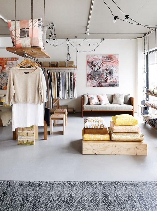 tiny apartment hanging clothes