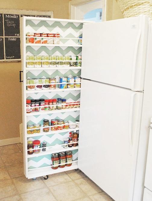tiny apartment sliding pantry