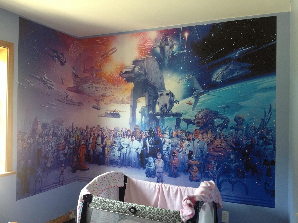 26 nerdy home designs for serious geeks for Mural star wars