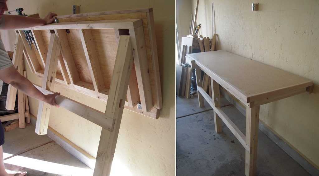 fold down workbench garage organization