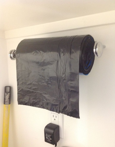 paper towel garbage bag roll garage storage