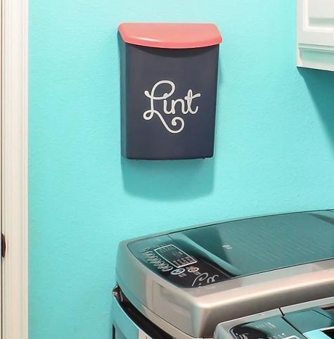 laundry room organization lint bin