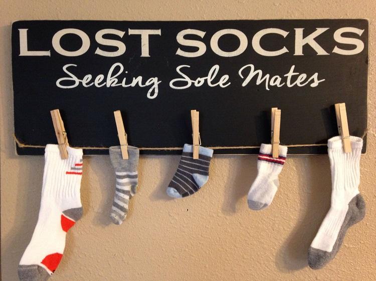 lost sock wall laundry room organization