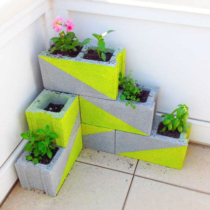 cinder block flower bed balcony hack