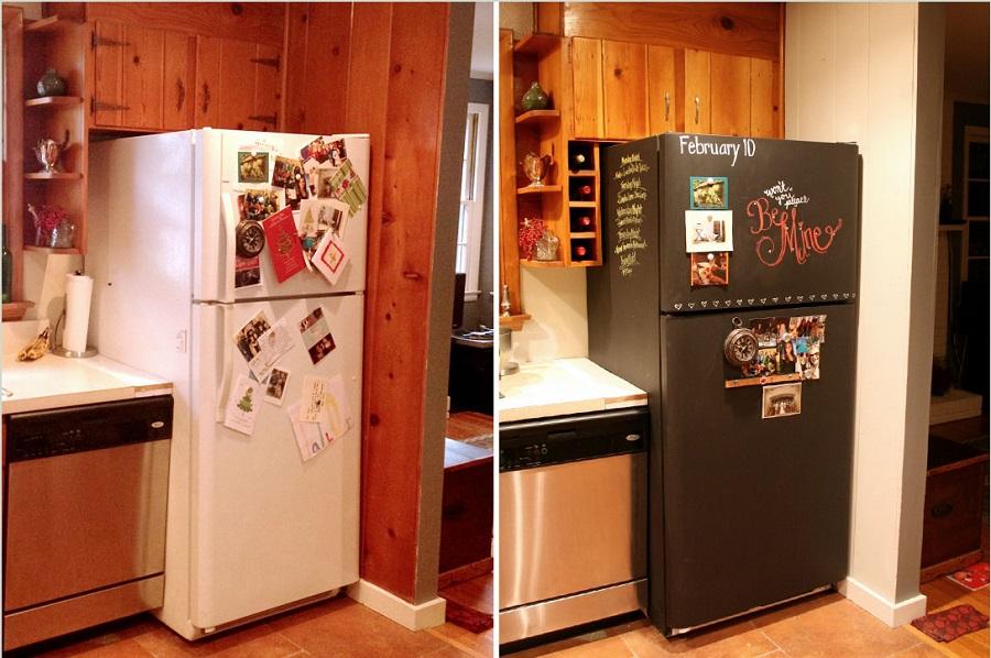 hiding eyesores - painting the fridge