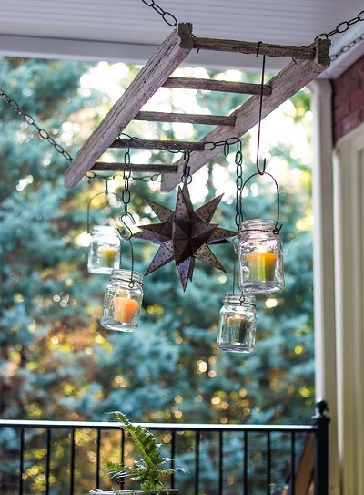 mason jar candles balcony