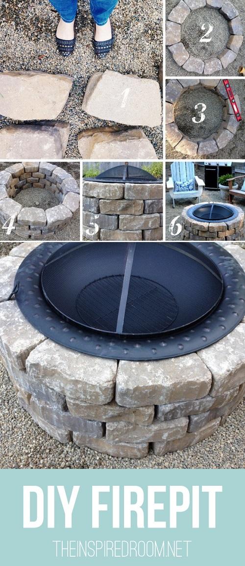 DIY fire pit backyard