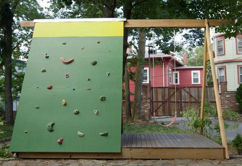 DIY rock-climbing wall backyard