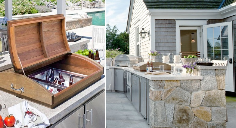 Cool outdoor kitchens photo albums fabulous homes for Drop in cooler for outdoor kitchen