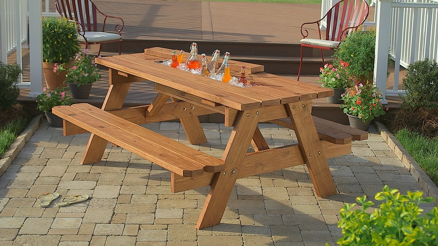 picnic table beer cooler