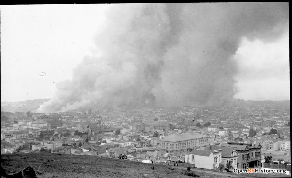 SF earthquake burning