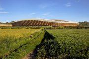 wooden stadium exterior