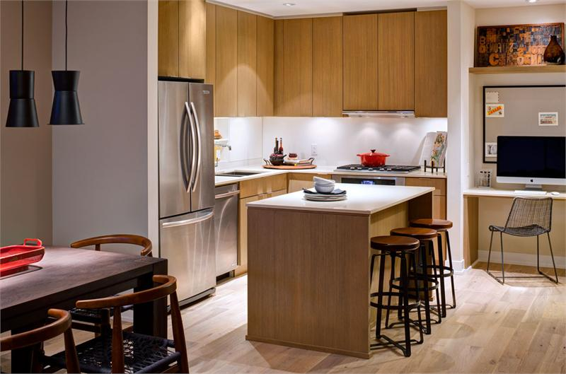 Block 100's spacious kitchens boast stainless steel appliances and composite countertops.