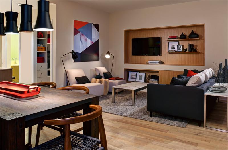 The living room in Block 100's display suite.