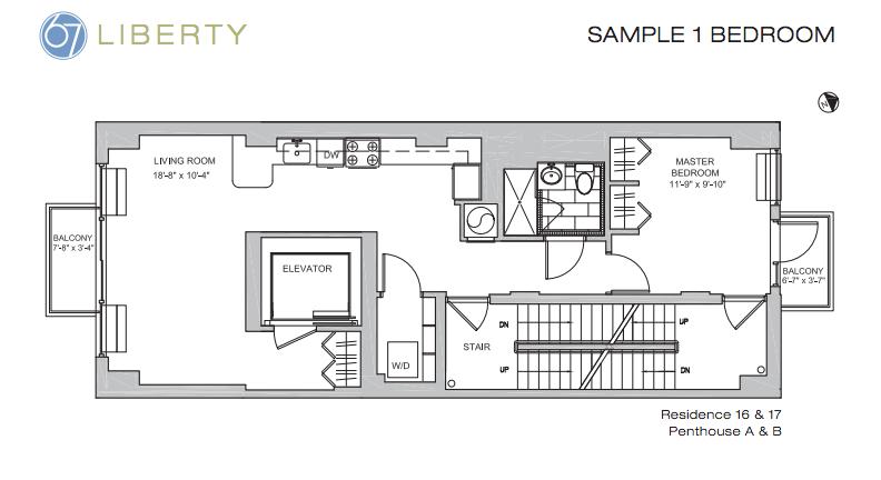 67 liberty floor plan 1BR
