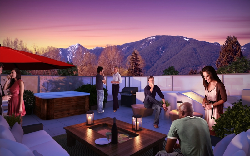 Artist's rendering of a Remix rooftop deck home