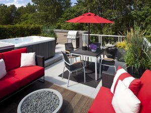 Remix rooftop deck with hot tub