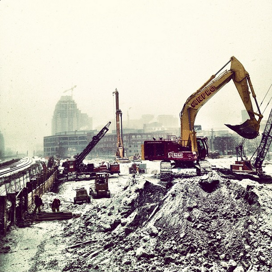 Snow turns construction sites into gigantic coconut-chocolate slushies, and we're okay with that.