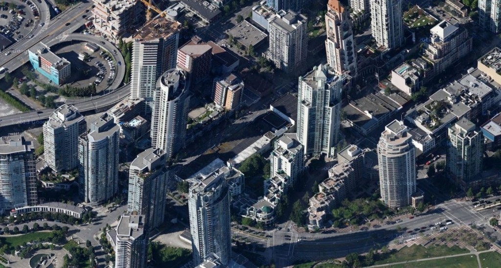 Vancouver tilted buildings google maps