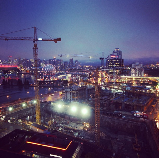 Lido construction up front, downtown Vancouver in back.