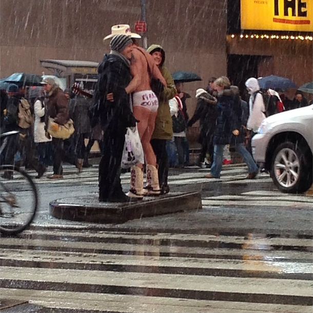 Now that's dedication (and frostbite): the Naked Cowboy does his thing in Times Square. Photo by @laurenrosa