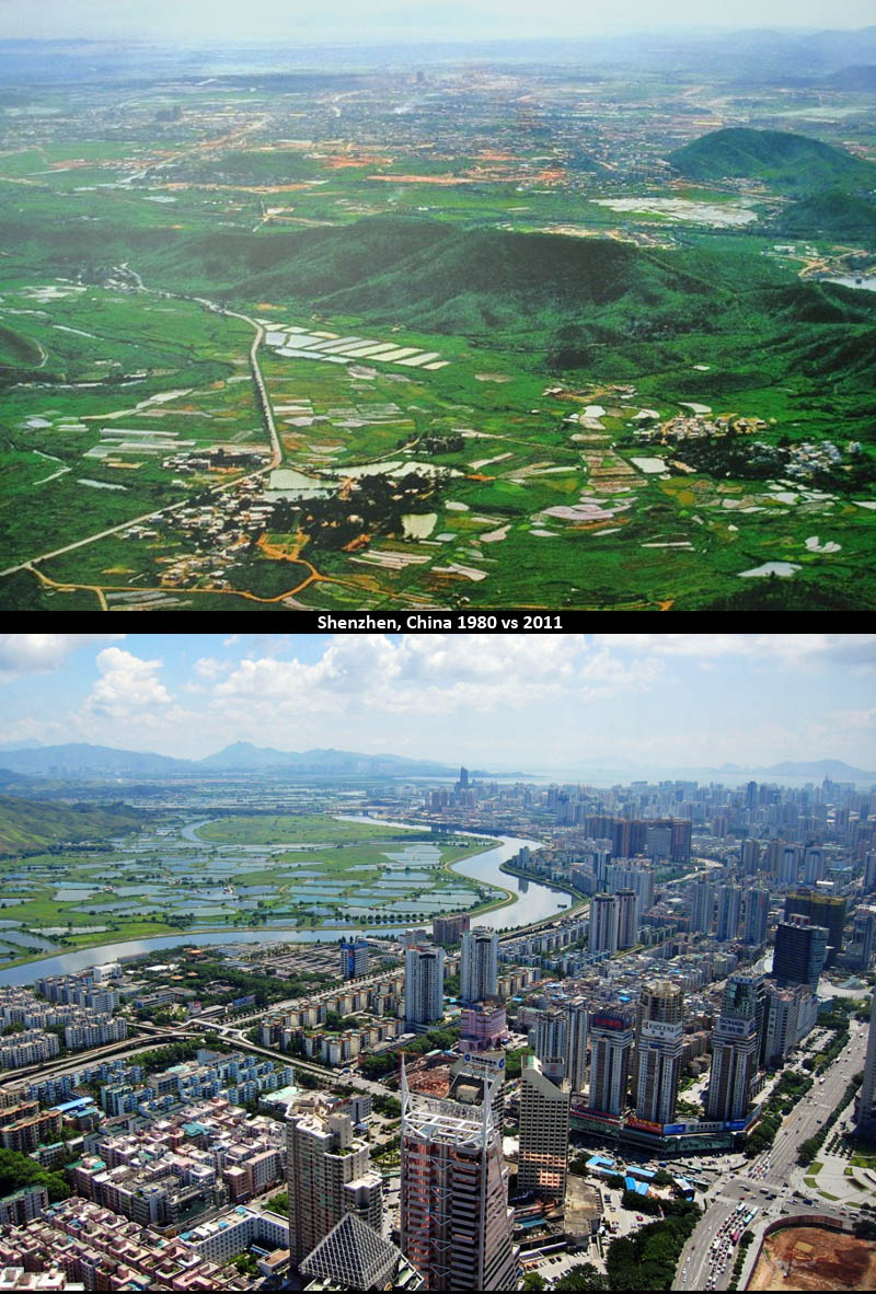 Shenzhen, China then and now