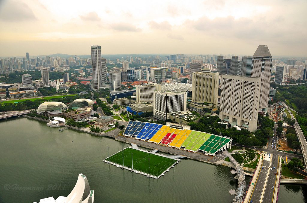Floating soccer field Marina Bay, Singapore
