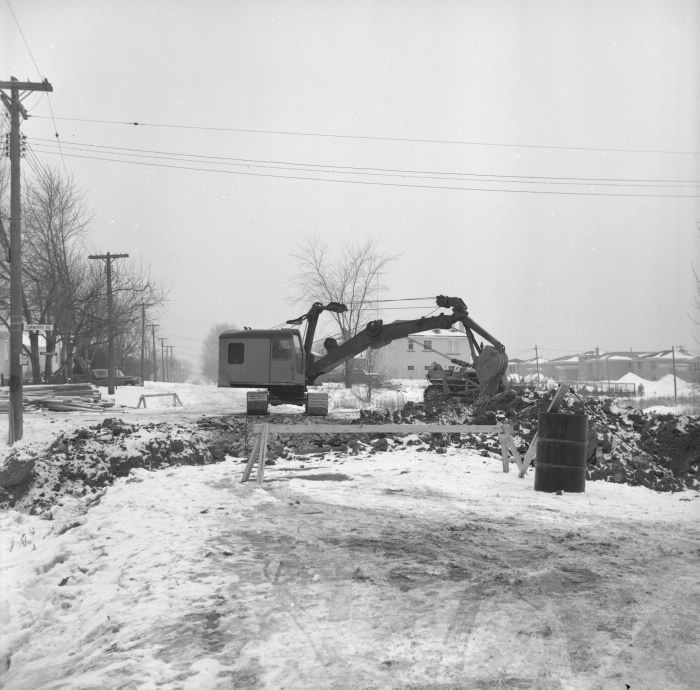 Construction on Hounslow Avenue at Tamworth Road, February 9, 1957.