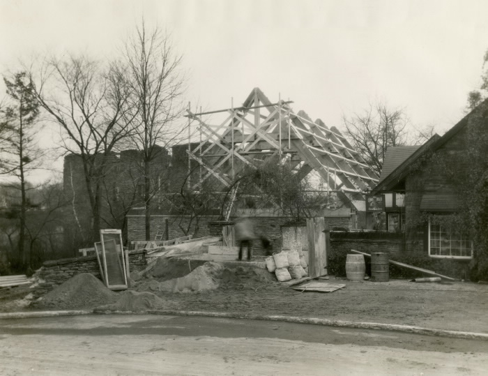 Old Mill Restaurant during construction, December 1, 1928.