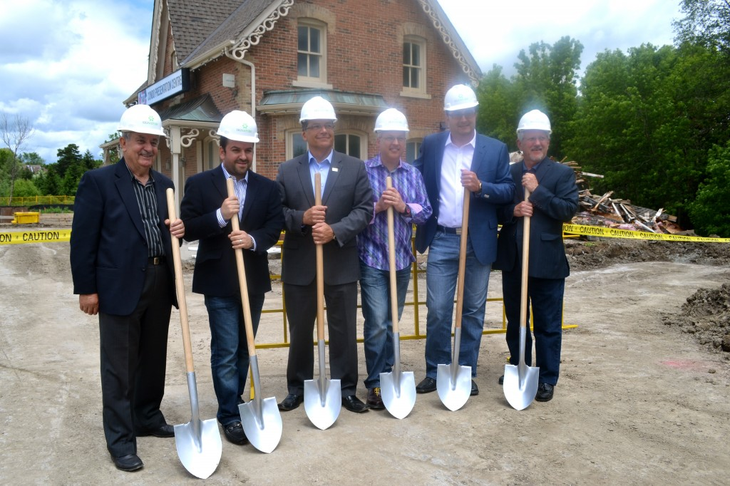 Councillor Nick Papa, SigNature's Sebastian Mizzi, Councillor Carmine Perrelli, Councillor Greg Barros, SigNature's Anthony DiBattista, and Richmond Hill Mayor Dave Barrow take part in the groundbreaking.