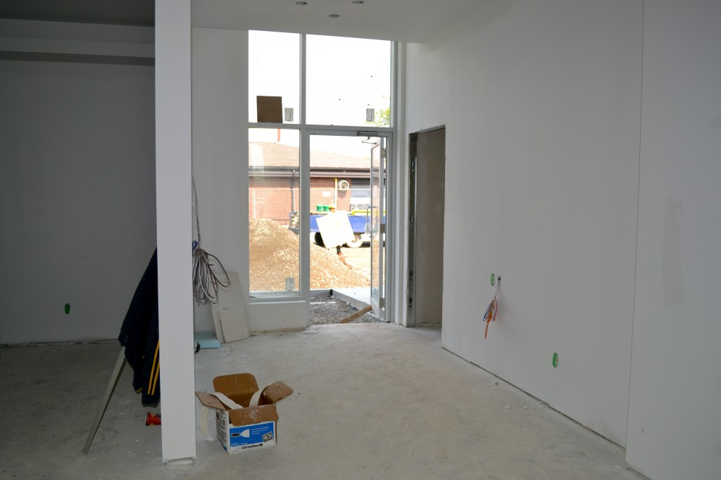 This spot with all the electrical hookups will be the kids play area, fully equipped with video games and more!