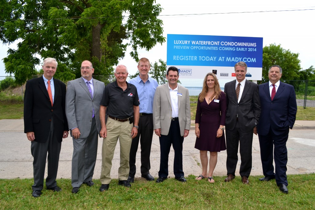 MADY Development Corporation selected by Mayrose-Tycon Limited to build long-awaited Burlington waterfront mixed-use development. Shown (L-R): Mayrose-Tycon Limited Principal Matt Jaecklein, MADY Development Corporation Senior Vice President and Chief Financial Officer Greg Puklicz, Burlington Ward 4 Councillor Jack Dennison, Ward 5 Councillor Paul Sharman, Ward 1 Councillor Rick Craven, Ward 2 Councillor Marianne Meed Ward, Burlington Mayor Rick Goldring and MADY CEO Charles Mady.