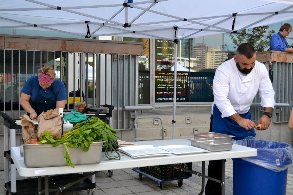 Chefs from Daniels' Paintbox Bistro walked the market and bought a bunch of ingredients that they then used for a cook-off at the market.