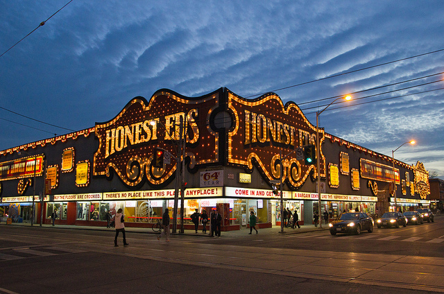 Nowadays Honest Ed's signage is home to about 23,000 lightbulbs, and the store is a must see for tourists.
