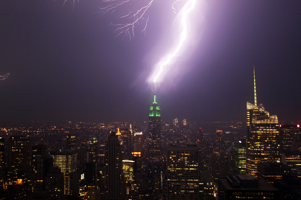 Empire State building lightning