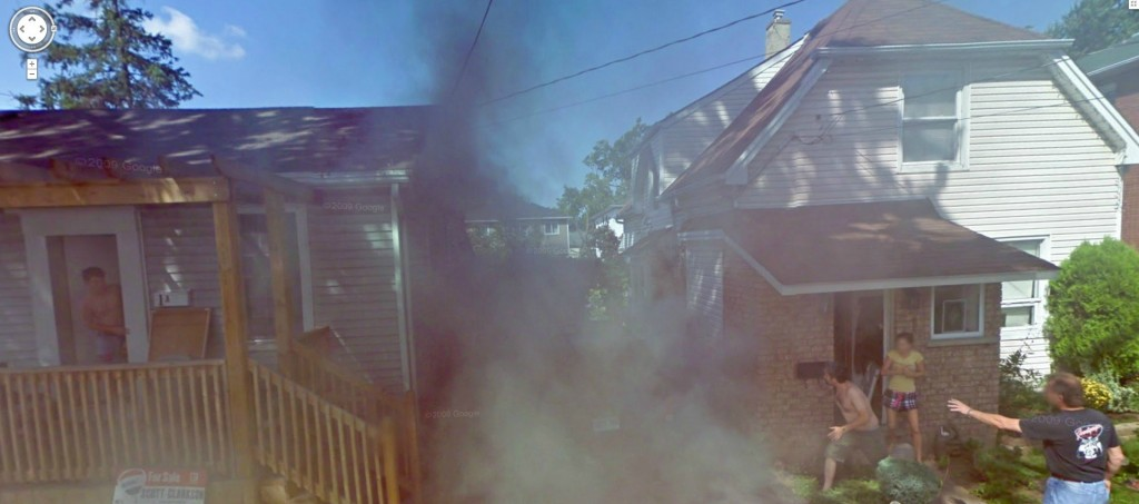 Google Street View fire