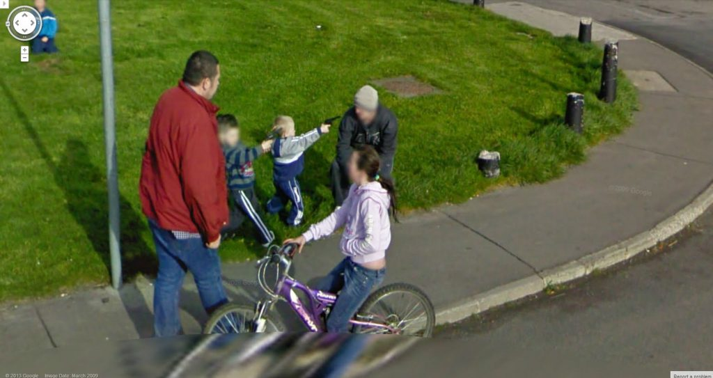 Google Street view kids guns